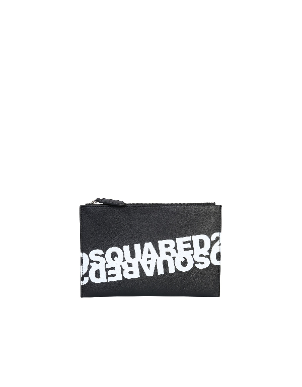 Dsquared2 Pouch With Mirrored Logo In Black