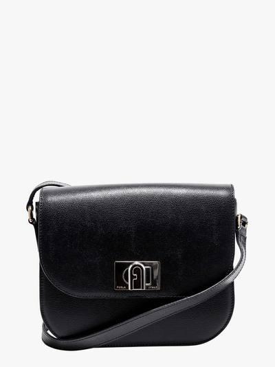 Furla Textured Leather Shoulder Bag In Black