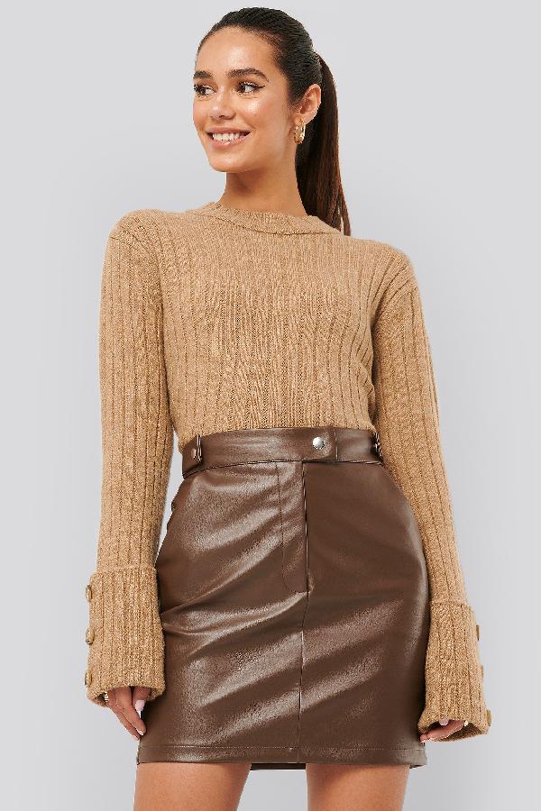 Misslisibell X Na-kd Folded Sleeve Knitted Sweater Beige In Light Beige