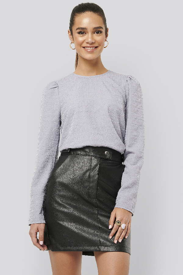 Misslisibell X Na-kd Puff Sleeve Top Purple In Cloud Grey