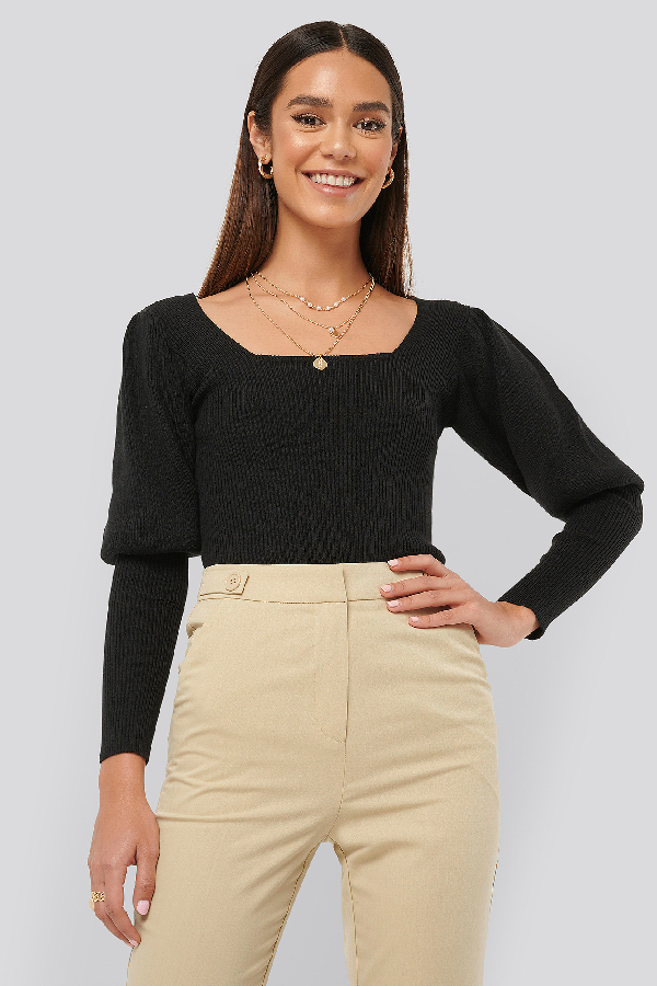 Misslisibell X Na-kd Puff Sleeve Knitted Top Black