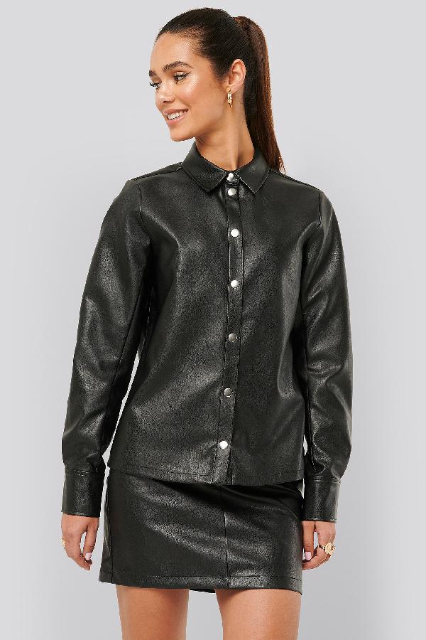 Misslisibell X Na-kd Press Button Pu Shirt Black
