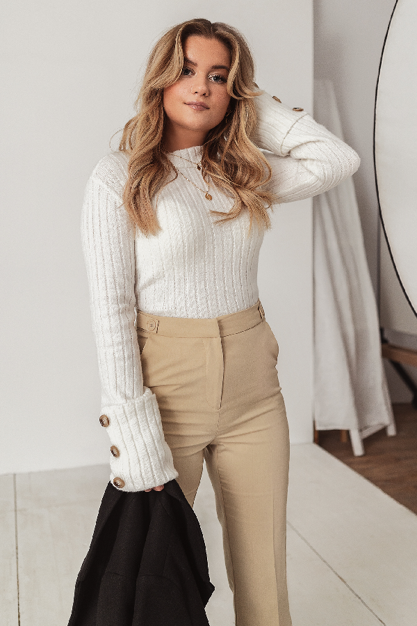 Misslisibell X Na-kd Folded Sleeve Knitted Sweater - White