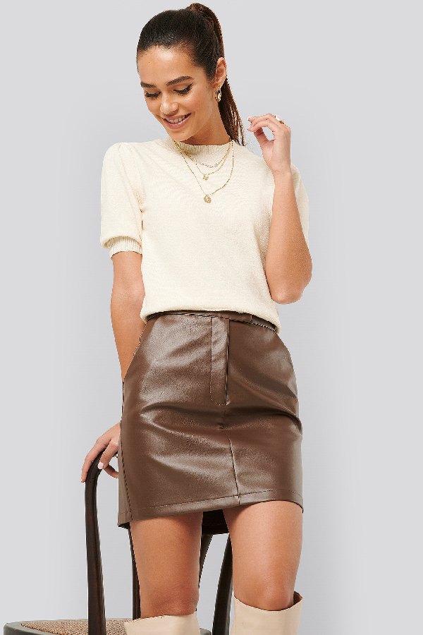 Misslisibell X Na-kd Waist Detail Pu Skirt Brown In Cocoa