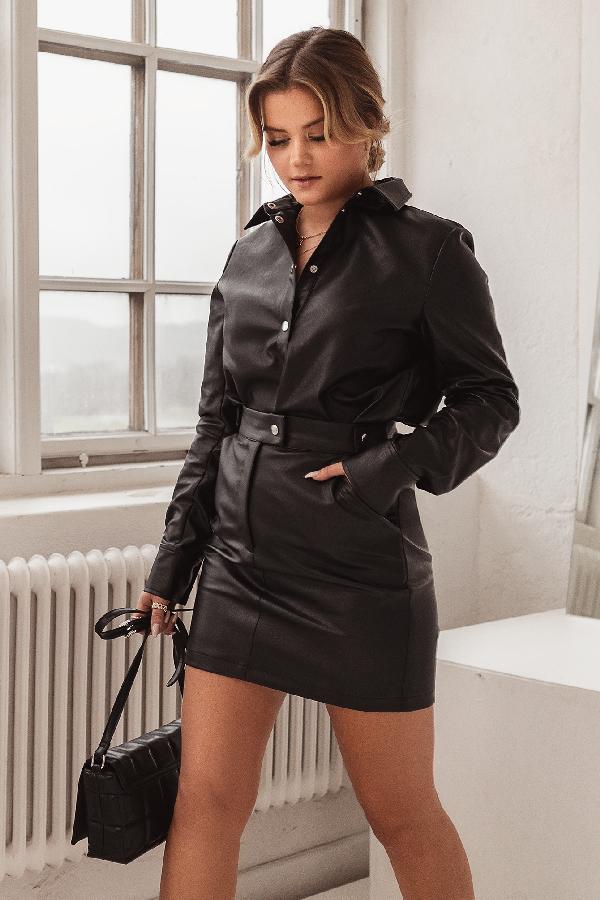 Misslisibell X Na-kd Waist Detail Pu Skirt Black