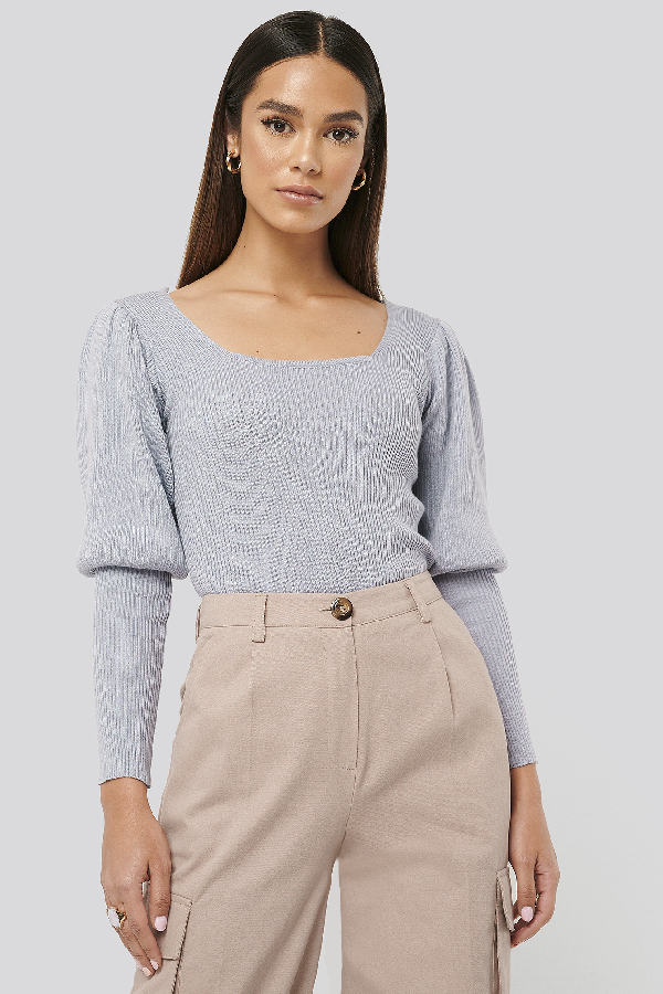 Misslisibell X Na-kd Puff Sleeve Knitted Top Blue In Cloud Grey