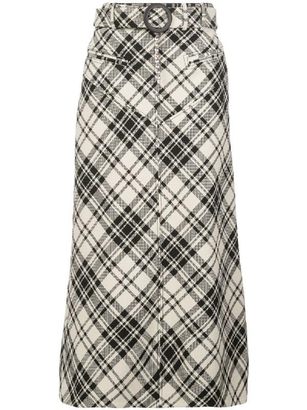 Ellery Multicolor Women's Check Print Matango Skirt In Black