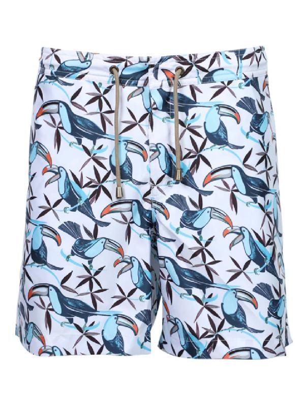 Thorsun Multicolor Men's Multicolored Toucan Print Swim Trunks In Blue