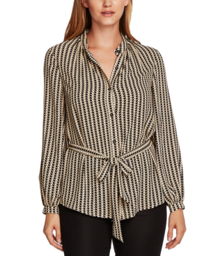 Vince Camuto Geo-print Button-down Belted Tunic Top In Light Stone