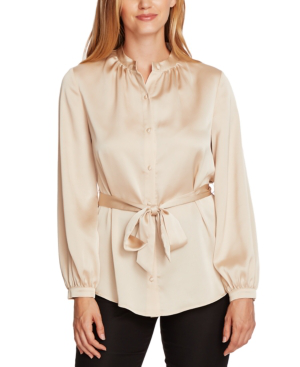 Vince Camuto Charmeuse Button-down Belted Tunic Top In Light Stone