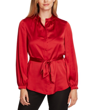 Vince Camuto Charmeuse Button-down Belted Tunic Top In Rhubarb