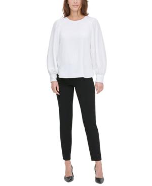 Calvin Klein Textured Button-cuff Blouse In Soft White