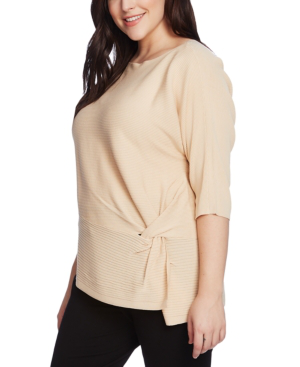 Vince Camuto Petite Dolman-sleeve Side-twist Rib Asymmetrical Sweater In Lightt Stone