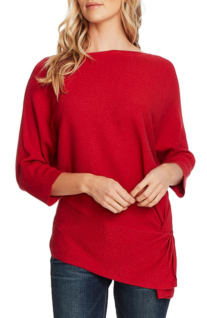 Vince Camuto Petite Dolman-sleeve Side-twist Rib Asymmetrical Sweater In Rhubarb