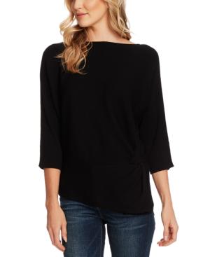 Vince Camuto Petite Dolman-sleeve Side-twist Rib Asymmetrical Sweater In Rich Black