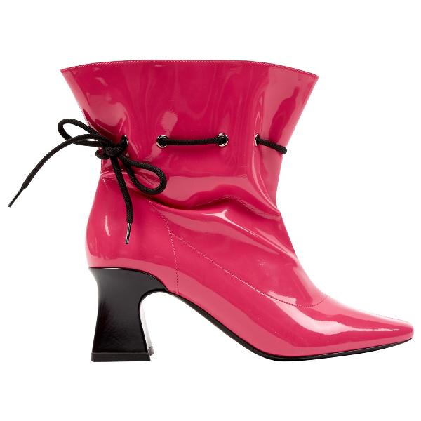 Fabrizio Viti Pink Patent Leather Ankle Boots