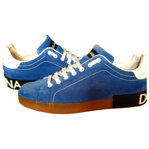 Dolce & Gabbana Portofino Blue Suede Trainers