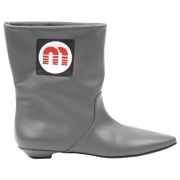 Miu Miu Grey Leather Boots