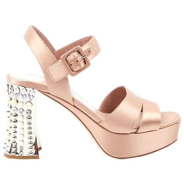 Miu Miu Pink Cloth Sandals