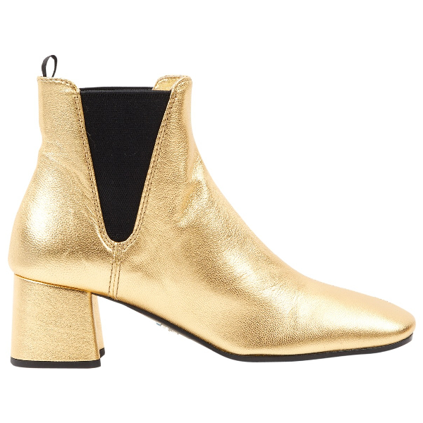 Prada Gold Leather Ankle Boots