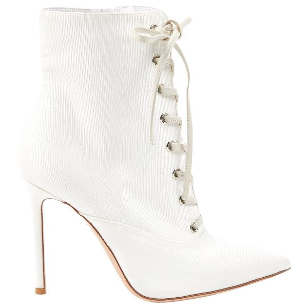 Gianvito Rossi White Cloth Heels