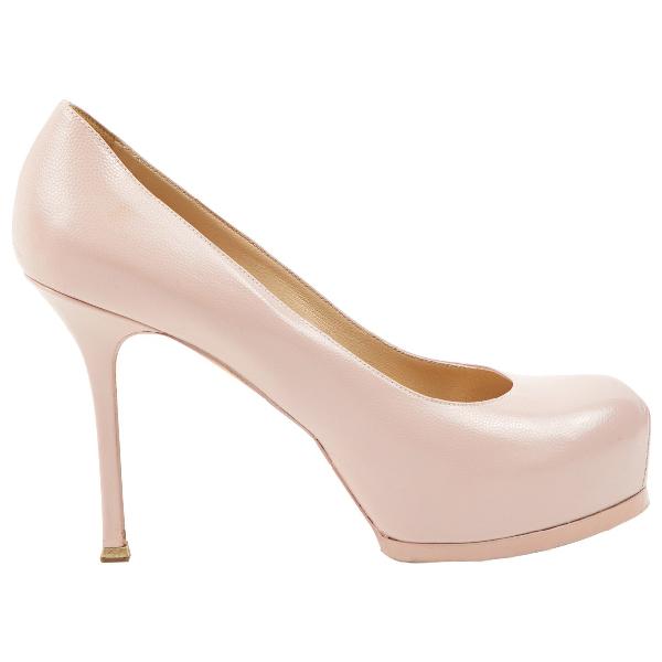 Saint Laurent Trib Too Pink Leather Heels