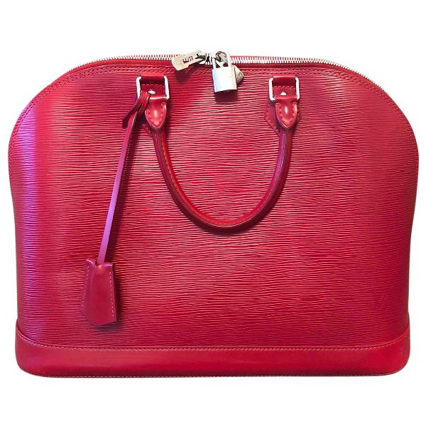 Louis Vuitton Alma Red Leather Handbag