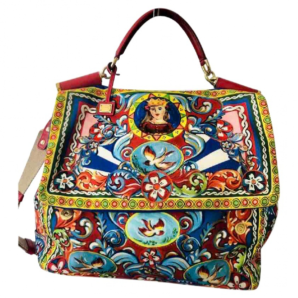 Dolce & Gabbana Sicily Multicolour Cotton Handbag