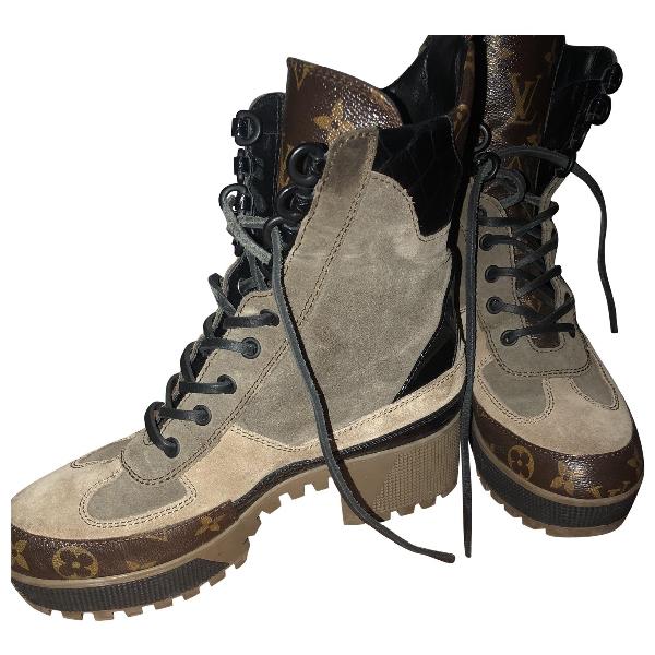 Louis Vuitton Khaki Suede Ankle Boots