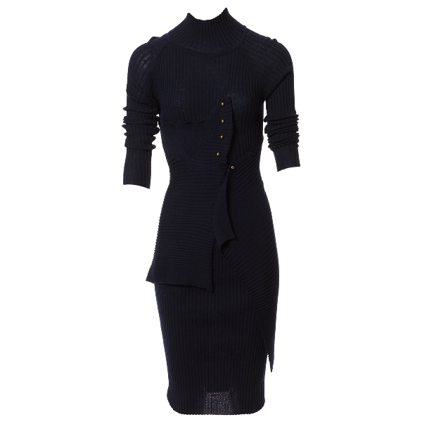 Wynn Hamlyn Navy Wool Dress
