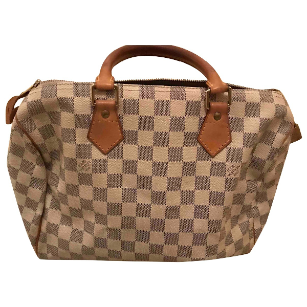 Louis Vuitton Speedy White Cloth Handbag