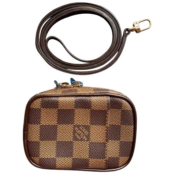 Louis Vuitton Brown Cloth Clutch Bag