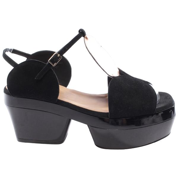 Dries Van Noten Black Suede Sandals