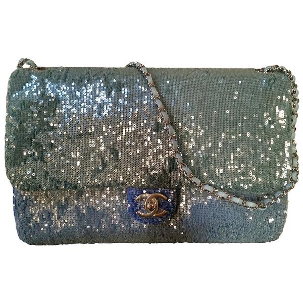 Chanel Timeless/classique Blue Glitter Handbag