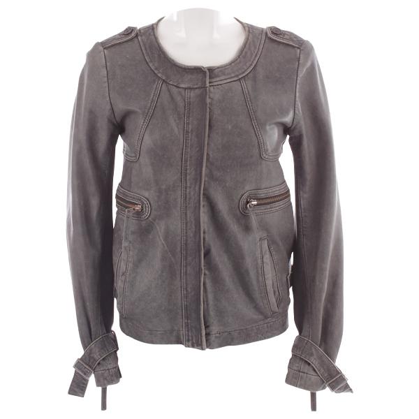Comptoir Des Cotonniers Grey Leather Jacket