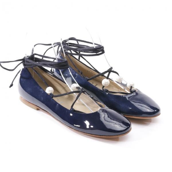 Agl Attilio Giusti Leombruni Blue Patent Leather Ballet Flats