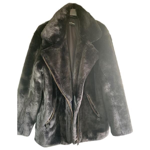 The Kooples Black Faux Fur Coat
