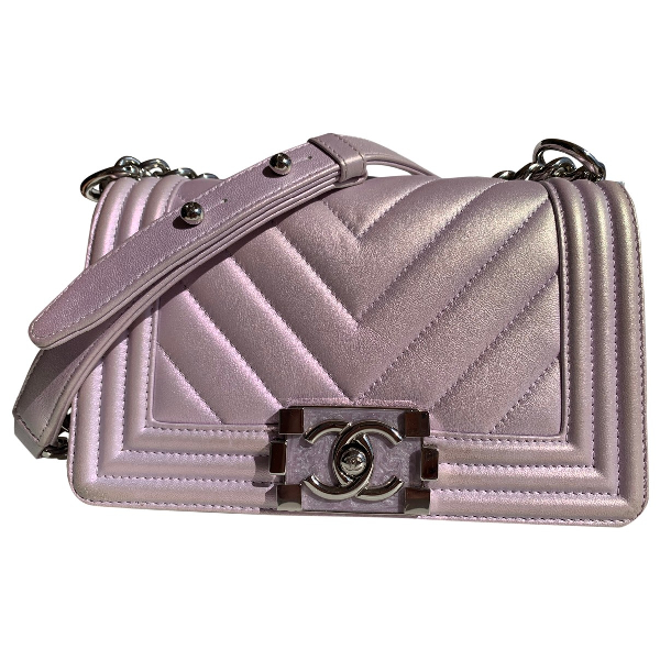 Chanel Boy Purple Leather Handbag