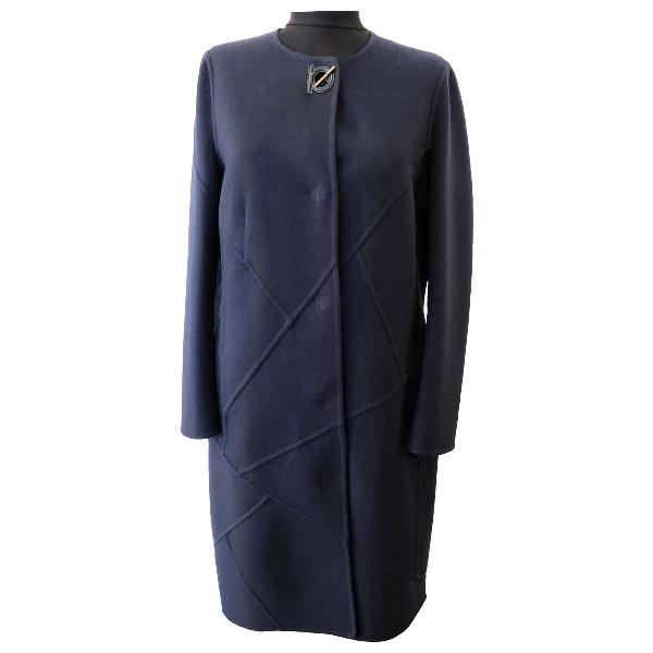 Salvatore Ferragamo Navy Wool Coat