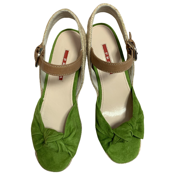 Prada Green Suede Sandals