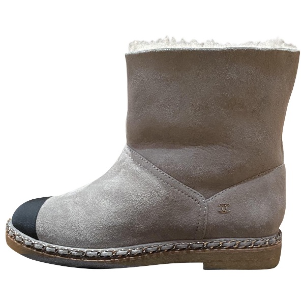 Chanel Grey Suede Ankle Boots