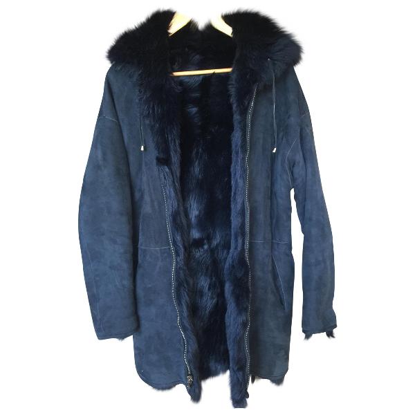 Essentiel Antwerp Navy Mongolian Lamb Coat