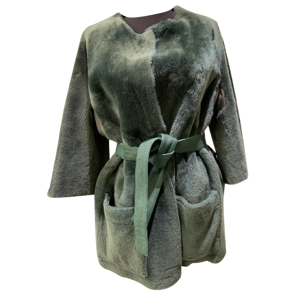 By Malene Birger Green Shearling Coat