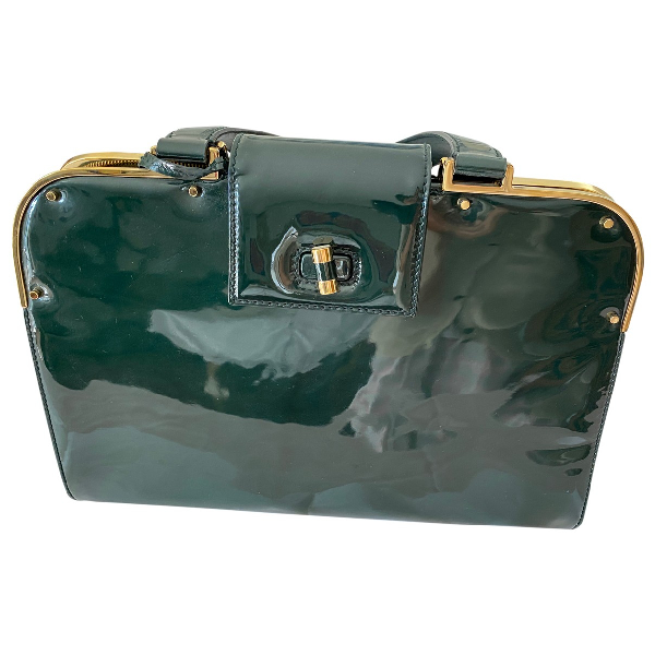 Saint Laurent Green Patent Leather Handbag