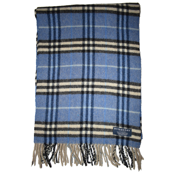 Burberry Blue Wool Scarf & Pocket Squares