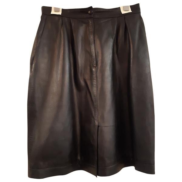 Saint Laurent Navy Leather Skirt
