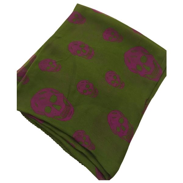 Alexander Mcqueen Green Silk Scarf