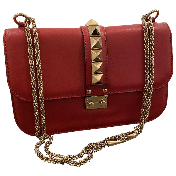 Valentino Garavani Glam Lock Red Leather Handbag