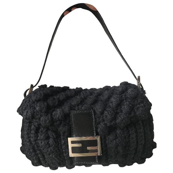 Fendi Baguette Black Wool Handbag