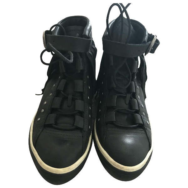 Mexicana Black Leather Trainers